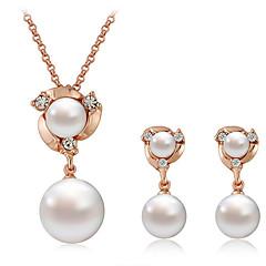 お買い得  ジュエリーセット-女性用 ドロップイヤリング ネックレス 人造真珠 ラインストーン クラシック ファッション 日常 人造真珠 イミテーションダイヤモンド 合金 ボール型 1×ネックレス イヤリング・ピアス