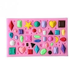 お買い得  ベイキング用品&ガジェット-ミニ宝石ダイヤモンドの形のフォンダンケーキチョコレートキャンディーシリコンモールドベーキングモールド