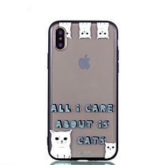 Недорогие Кейсы для iPhone X-Кейс для Назначение Apple iPhone X iPhone 8 Plus Прозрачный С узором Кейс на заднюю панель Кот Твердый Акрил для iPhone X iPhone 8 Pluss