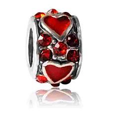 cheap Beads & Jewelry Making-DIY Jewelry 1 pcs Beads Imitation Diamond Alloy Red Round Bead 0.5 cm DIY Necklace Bracelet