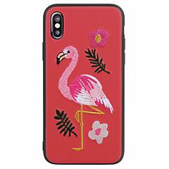 Недорогие Кейсы для iPhone 7 Plus-Кейс для Назначение Apple iPhone X iPhone 8 Матовое С узором Задняя крышка Фламинго 3D в мультяшном стиле Мягкий Искусственная кожа для