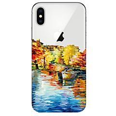Недорогие Кейсы для iPhone-Кейс для Назначение Apple iPhone X iPhone 8 Ультратонкий Прозрачный С узором Кейс на заднюю панель Вид на город Мягкий ТПУ для iPhone X