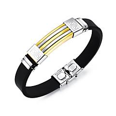 preiswerte Armbänder-Herrn Armreife ID Armband - Edelstahl Modisch Armbänder Gold / Schwarz / Silber Für Alltag Ausgehen