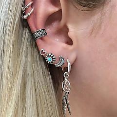 cheap Earrings-Men's Women's 7pcs Clip Earrings Ear Cuffs Crystal Vintage Heart Alloy Leaf Moon Flower Jewelry Silver Gift Evening Party Costume Jewelry