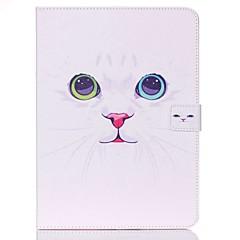 Недорогие Чехлы и кейсы для Galaxy Tab 4 10.1-Кейс для Назначение Samsung Tab 4 10.1 Кошелек / Бумажник для карт / со стендом Чехол Кот Твердый Кожа PU для Tab 4 10.1