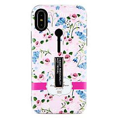 Недорогие Кейсы для iPhone-Кейс для Назначение Apple iPhone X iPhone 8 со стендом С узором Кейс на заднюю панель Цветы Твердый ПК для iPhone X iPhone 8 Pluss iPhone