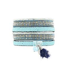 abordables Bijoux pour Femme-Femme Bracelets - Cuir, Fourrure Bohème Bracelet Bleu / Rose Pour Casual Vacances