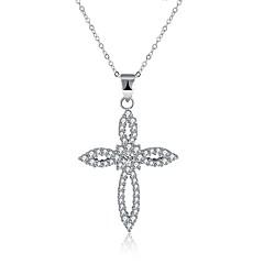 preiswerte Halsketten-Damen Kubikzirkonia Anhängerketten - S925 Sterling Silber Kreuz damas, Modisch Silber Modische Halsketten Schmuck 1 Für Geschenk, Alltag