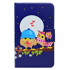 Недорогие Чехлы и кейсы для Galaxy Tab 3 Lite-Кейс для Назначение SSamsung Galaxy Tab 3 Lite Бумажник для карт со стендом Флип С узором Чехол Сова Твердый Кожа PU для Tab 3 Lite