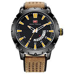 preiswerte Herrenuhren-MINI FOCUS Herrn Armbanduhren für den Alltag Japanisch Quartz Kalender Armbanduhren für den Alltag Cool Echtes Leder Band Analog Modisch Braun - Schwarz / Rot Blau Schwarz / Gelb