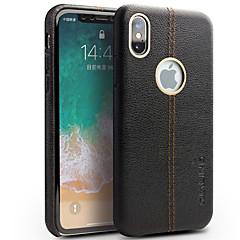 Недорогие Кейсы для iPhone-Кейс для Назначение Apple iPhone X iPhone 8 Защита от удара Кейс на заднюю панель Сплошной цвет Твердый Настоящая кожа для iPhone X