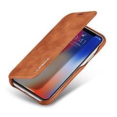Недорогие Кейсы для iPhone 7-Кейс для Назначение Apple iPhone X Бумажник для карт Защита от удара Флип Чехол Сплошной цвет Твердый Настоящая кожа для iPhone X iPhone