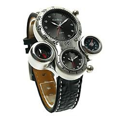 preiswerte Armbanduhren für Paare-Oulm Herrn Paar Armbanduhren für den Alltag Sportuhr Modeuhr Japanisch Quartz Armbanduhren für den Alltag Leder Band Analog Luxus Retro Schwarz / Braun - Weiß Schwarz Braun