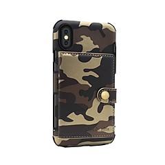 Недорогие Кейсы для iPhone-Кейс для Назначение Apple iPhone X / iPhone 8 Кошелек / Магнитный Кейс на заднюю панель Камуфляж Твердый Кожа PU для iPhone 8 Pluss / iPhone 8
