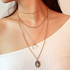 preiswerte Halsketten-Damen Mehrschichtig / Quaste Anhängerketten - Kreuz Retro, Modisch, Mehrlagig Gold, Silber Modische Halsketten Für Party / Abend, Verlobung, Alltag