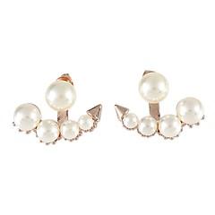 preiswerte Ohrringe-Damen Perle Ohrstecker Gestlyte Ohrringe Vorne Hinten - Künstliche Perle Retro, Modisch Gold / Silber / Rotgold Für Alltag Arbeit