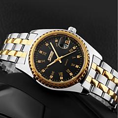 baratos Relógios para Casais-SKMEI Mulheres Casal Relógio Casual Relógio de Moda Relógio Elegante Japanês Quartzo 30 m Impermeável Calendário Legal Aço Inoxidável Lega Banda Analógico Luxo Prata - Branco Preto Prata