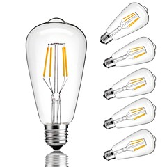 cheap LED Bulbs-6pcs 4W 360lm E26 / E27 LED Filament Bulbs ST64 4 LED Beads COB Decorative Warm White Cold White 220-240V