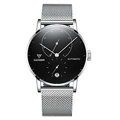 preiswerte Herrenuhren-CADISEN Herrn Armbanduhren für den Alltag Modeuhr Japanisch Automatikaufzug 50 m Wasserdicht Kalender Armbanduhren für den Alltag Edelstahl Band Analog Modisch Elegant Silber / Rotgold - Wei