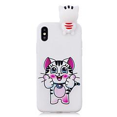 Недорогие Кейсы для iPhone 5-Кейс для Назначение Apple iPhone X iPhone 8 Защита от удара С узором Своими руками Кейс на заднюю панель Кот 3D в мультяшном стиле