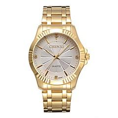 お買い得  メンズ腕時計-CHENXI® 男性用 ファッションウォッチ ドレスウォッチ ダミー ダイアモンド 腕時計 日本産 クォーツ カジュアルウォッチ 模造ダイヤモンド ステンレス バンド ハンズ ぜいたく ファッション ゴールド - ホワイト 2年 電池寿命 / Maxell626