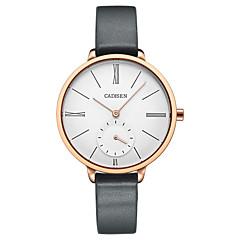 preiswerte Damenuhren-CADISEN Damen Armbanduhren für den Alltag Modeuhr Japanisch Quartz 30 m Wasserdicht Armbanduhren für den Alltag Leder Band Analog Modisch Elegant Grau - Weiß Zwei jahr Batterielebensdauer