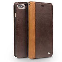 Недорогие Кейсы для iPhone-Кейс для Назначение Apple iPhone 8 iPhone 8 Plus Бумажник для карт Защита от удара со стендом Флип Чехол Сплошной цвет Твердый Настоящая