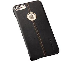 Недорогие Кейсы для iPhone-Кейс для Назначение Apple iPhone 7 Plus Защита от удара Кейс на заднюю панель Сплошной цвет Твердый Настоящая кожа для iPhone 7 Plus