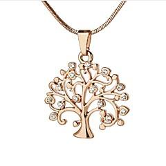 olcso Nyakláncok-Női Circle Shape Az élet fája Alkalmi Alap Divat Nyaklánc medálok Nyakláncok Strassz Ezüstözött Arannyal bevont Rózsa arany bevonattal