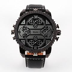 preiswerte Armbanduhren für Paare-Oulm Herrn Paar Armbanduhren für den Alltag Modeuhr Japanisch Quartz Armbanduhren für den Alltag Leder Band Analog Luxus Modisch Schwarz / Braun - Braun Rot Blau