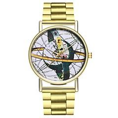 preiswerte Herrenuhren-Damen Kreativ Armbanduhren für den Alltag Punk Edelstahl Band Analog Weltkarte Muster Gold - Gold Ein Jahr Batterielebensdauer / Großes Ziffernblatt / SSUO LR626