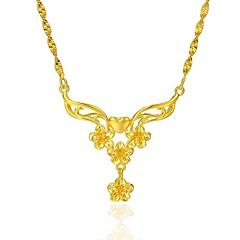 お買い得  ネックレス-女性用 フラワー 形状 フローラル ペンダントネックレス , 銅 ゴールドメッキ ペンダントネックレス 結婚式 贈り物 コスチュームジュエリー
