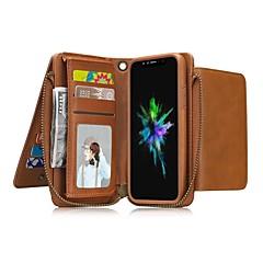 Недорогие Кейсы для iPhone 6 Plus-Кейс для Назначение Apple iPhone X iPhone 8 Бумажник для карт Кошелек Защита от удара со стендом Флип Чехол Сплошной цвет Твердый Кожа PU