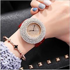 preiswerte Damenuhren-Damen Pavé-Uhr Quartz Echtes Leder Bandmaterial Schwarz / Weiß / Rot Armbanduhren für den Alltag Analog damas Freizeit Modisch - Schwarz Kaffee Rot
