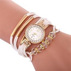 preiswerte Damenuhren-Damen Armbanduhren für den Alltag / Armband-Uhr / Simulierter Diamant Uhr Chinesisch Armbanduhren für den Alltag / Imitation Diamant PU Band Böhmische / Modisch Schwarz / Weiß / Blau / Ein Jahr