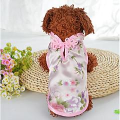 お買い得  犬用ウェア&アクセサリー-犬用 猫用 コート 犬用ウェア 刺しゅう グリーン ピンク シルク コスチューム ペット用 女性 スタイリッシュ エスニック
