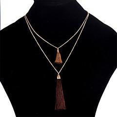 お買い得  ネックレス-女性用 レイヤード レイヤードネックレス  -  シンプル レインボー, レッド, ブルー 40+5 cm ネックレス 用途 日常, お出かけ