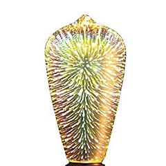 お買い得  LED 電球-1個 5W 350lm E26 / E27 フィラメントタイプLED電球 ST64 28 LEDビーズ 集積LED 3D花火 星の 装飾用 マルチカラー 85-265V