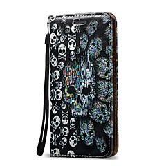 Недорогие Кейсы для iPhone 6-Кейс для Назначение Apple iPhone X iPhone 8 Plus Бумажник для карт Кошелек Флип Чехол Черепа Твердый Кожа PU для iPhone X iPhone 8 Pluss
