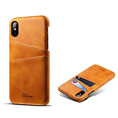 Недорогие Кейсы для iPhone X-Кейс для Назначение Apple iPhone X iPhone 8 Plus Бумажник для карт Кейс на заднюю панель Однотонный Твердый Настоящая кожа для iPhone X