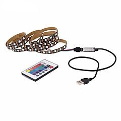 お買い得  LED ストリングライト-ZDM® 1m ライトセット / RGBストリップライト / リモートコントロール 30 LED 5050 SMD 1 24キーリモコン / 1 ACケーブル RGB カット可能 / 装飾用 / ノンテープ・タイプ 5 V / USBパワード 1セット