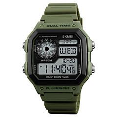 preiswerte Herrenuhren-SKMEI Herrn digital Digitaluhr Alarm Kalender Wasserdicht Armbanduhren für den Alltag Caucho Band Freizeit Cool Grün