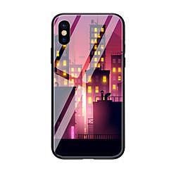 Недорогие Кейсы для iPhone 6 Plus-Кейс для Назначение Apple iPhone X iPhone 8 С узором Кейс на заднюю панель Вид на город Твердый Закаленное стекло для iPhone X iPhone 8