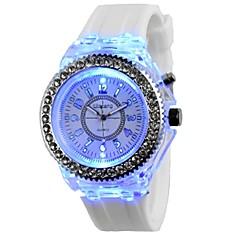 お買い得  メンズ腕時計-女性用 クロノグラフ付き クリエイティブ 光る シリコーン バンド ハンズ 光沢タイプ ブラック / 白 / オレンジ - ライトブルー ダークグリーン フルーツグリーン 1年間 電池寿命