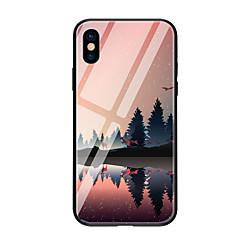 お買い得  iPhone 5S/SE ケース-ケース 用途 Apple iPhone X iPhone 8 パターン バックカバー 風景 ハード 強化ガラス のために iPhone X iPhone 8 Plus iPhone 8 iPhone 7 iPhone 6s Plus iPhone 6s iPhone 6