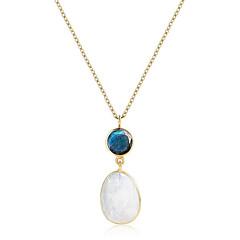 preiswerte Halsketten-Damen Mondstein Anhängerketten - 18K vergoldet, S925 Sterling Silber Europäisch, Elegant Weiß 45 cm Modische Halsketten Schmuck Für Geschenk, Alltag