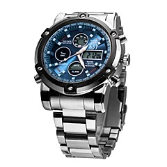 cheap -ASJ Men's Dress Watch Japanese Silver 30 m Water Resistant / Water Proof Alarm Calendar / date / day Analog-Digital Luxury Fashion - White Black Blue Two Years Battery Life / Chronograph / SSUO 377