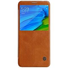 Недорогие Чехлы и кейсы для Xiaomi-Кейс для Назначение Xiaomi Redmi Note 5 Pro с окошком Флип Авто Режим сна / Пробуждение Чехол Однотонный Твердый Кожа PU для Xiaomi Redmi