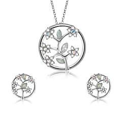 tanie Zestawy biżuterii-Damskie Cyrkonia Cyrkon / Posrebrzany Kwiatowy Leaf Shape / Kwiat Biżuteria Ustaw 1 Naszyjnik / Náušnice - Kwiatowy / Formalna Silver