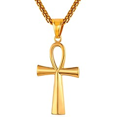 voordelige -Heren Dames Kruis Roestvast staal Hangertjes ketting  -  Modieus Goud Zwart Zilver 55cm Kettingen Voor Dagelijks